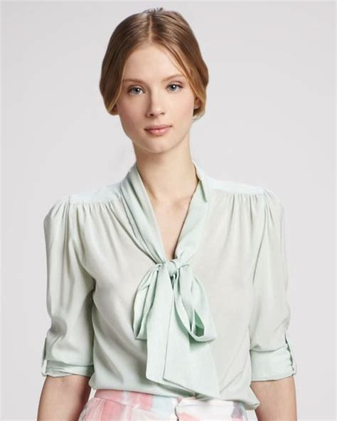 Pastel Blouse Salwa Jumbo arie collar blouse in green pastel dot aqua lyst