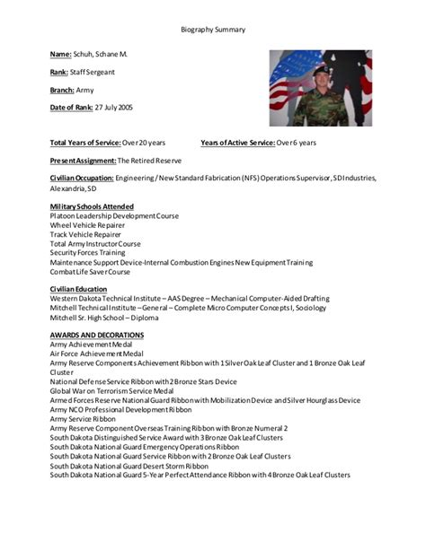military biography format military biographical summary