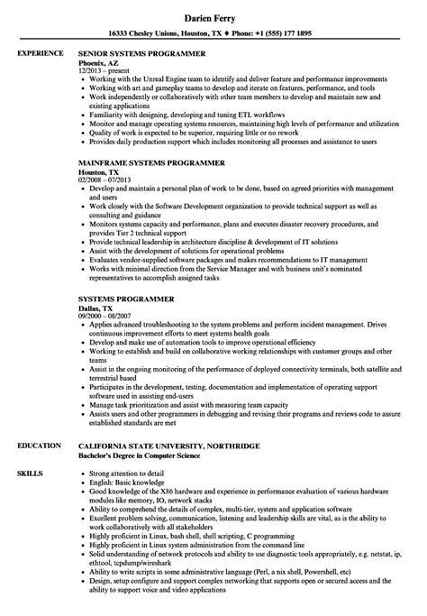 Systems Programmer Resume Systems Programmer Resume Sles Velvet