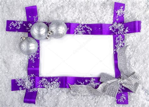 purple with silver purple ribbon frame with silver balls and snow