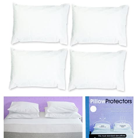 standard bed pillow size set of 4 pillow protector cover standard size pillowcase soft fabric bedding new