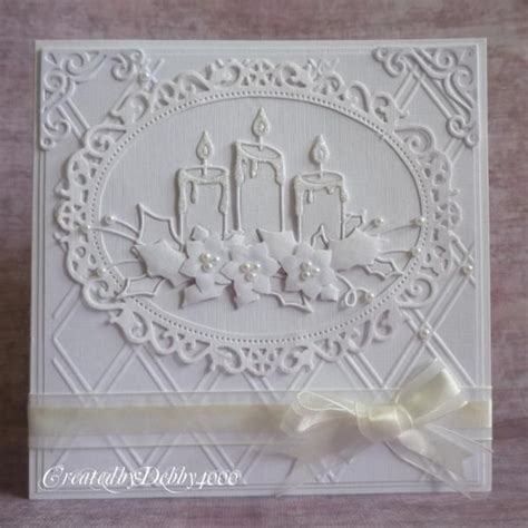 handmade christmas card glowing candles by debby4000
