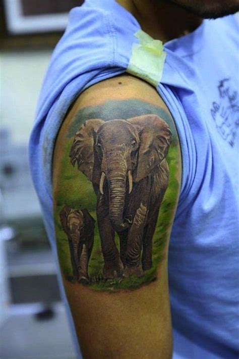 tattoo ink contains animal this photo realistic tattoo depicts a cute family of