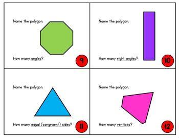 2nd grade geometry task cards 2 d shape task cards