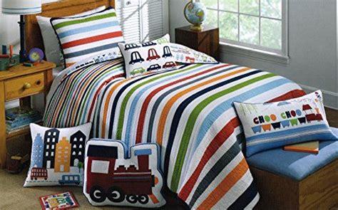 authentic kids bedding toddler bedding cotton 2pc twin quilt set reversible trucks cars trains bus city boys