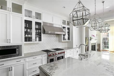 White Shaker Kitchen Cabinets with Wood Countertops and