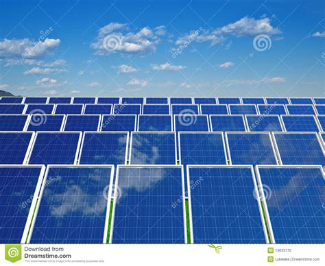 solar panels system green energy from sun stock photo