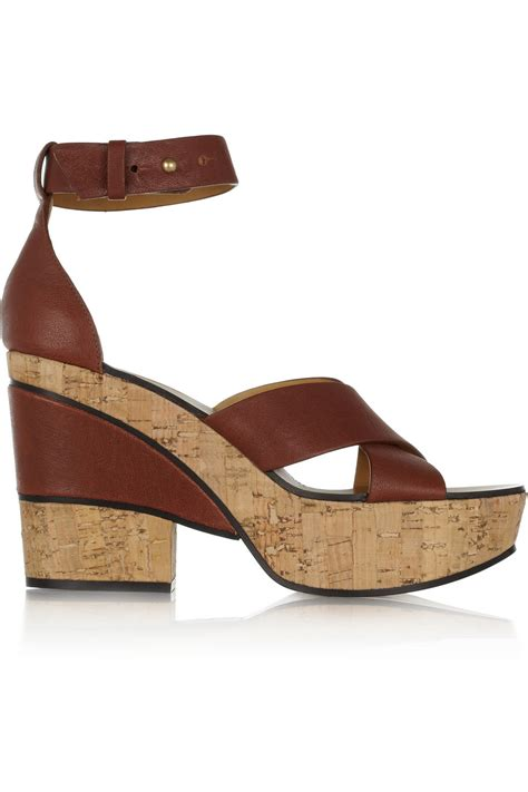 chlo 233 leather and cork platform sandals in brown lyst