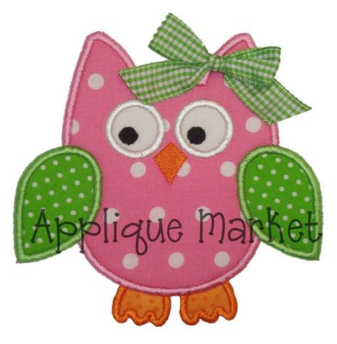 free applique downloads machine embroidery design applique owl 4 sizes instant