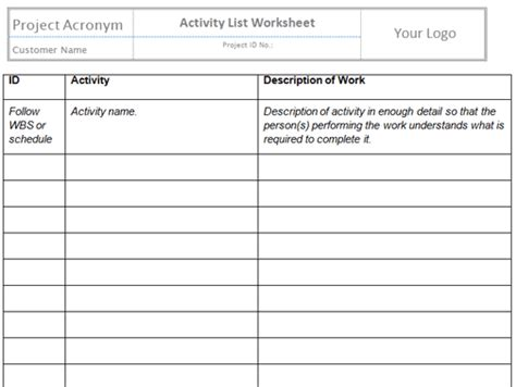 sequence activities templates project management templates