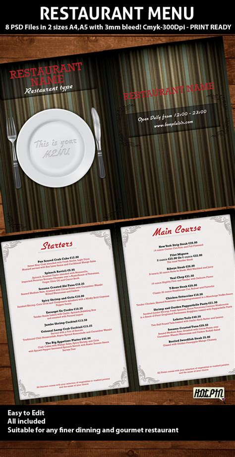 diner menu template restaurant menu psd template
