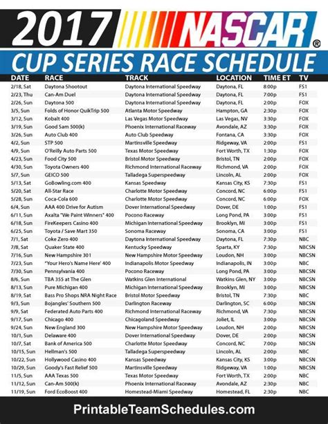 printable nascar schedule search results for printable nascar 2015 schedule
