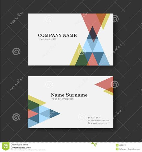 business card templates in vector vector business card design template of triangle stock