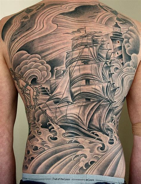 tattoo back ship 30 mind blowing boat tattoos