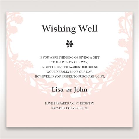 bridal shower registry wording laser cut nature and pink filled wishing well card design