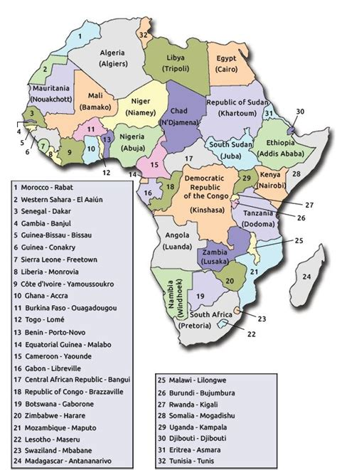 map  africa   capitals  travel information