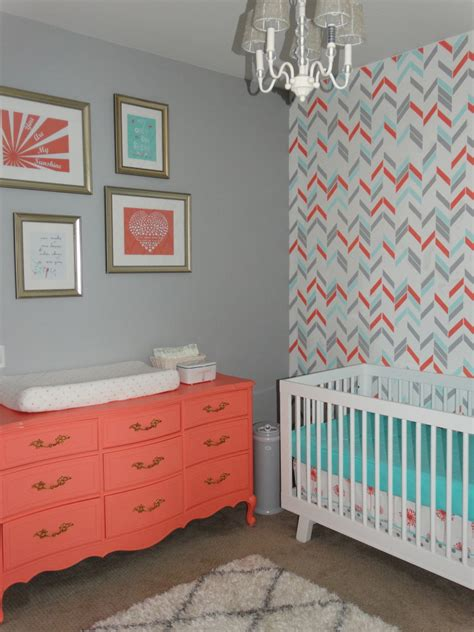 noelle s coral aqua and gray nursery with gold accents project nursery