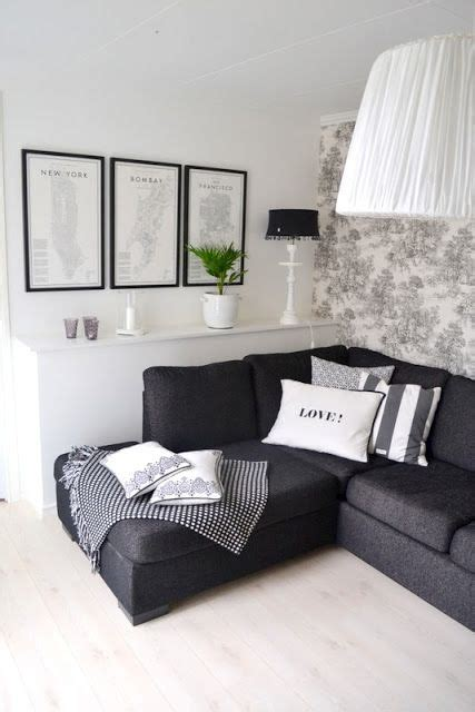 grey room black furniture interior love pinterest light floor dark couch toile wall paper frames like