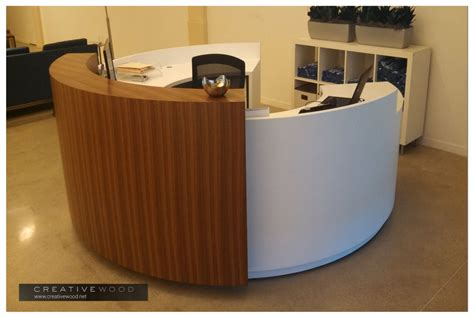 small white reception desk reception creative wood
