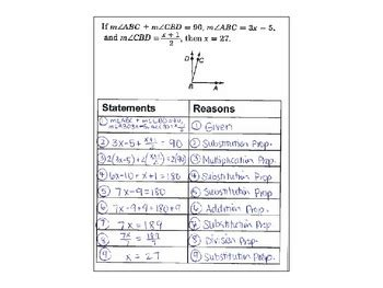 algebraic proofs worksheet with answers geometry 6 algebraic proofs with answer key flipbook foldable