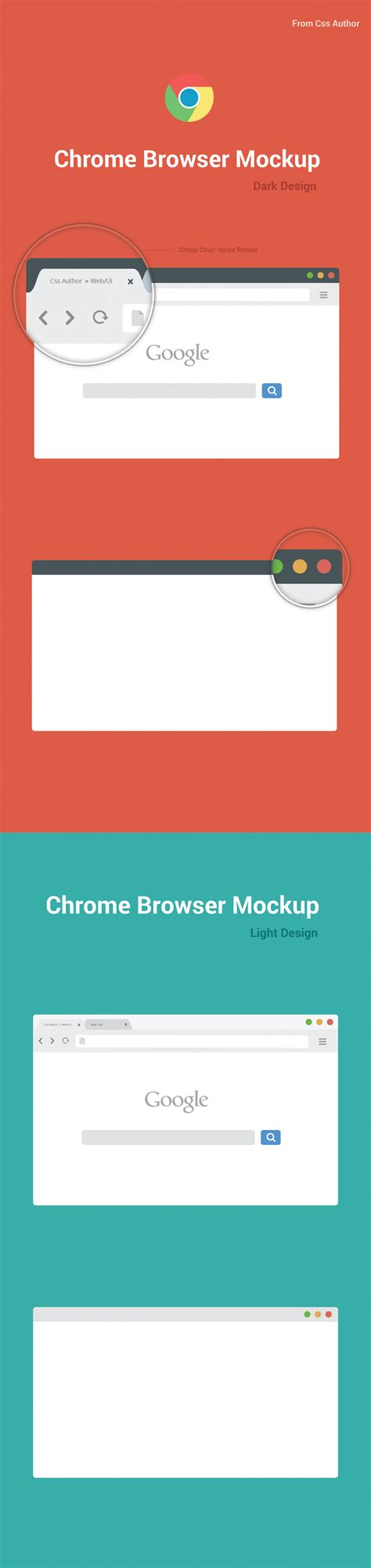 chrome browser mockup design template vector for free