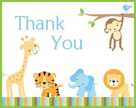 printable animal thank you cards baby shower thank you baby showers and thank you cards on