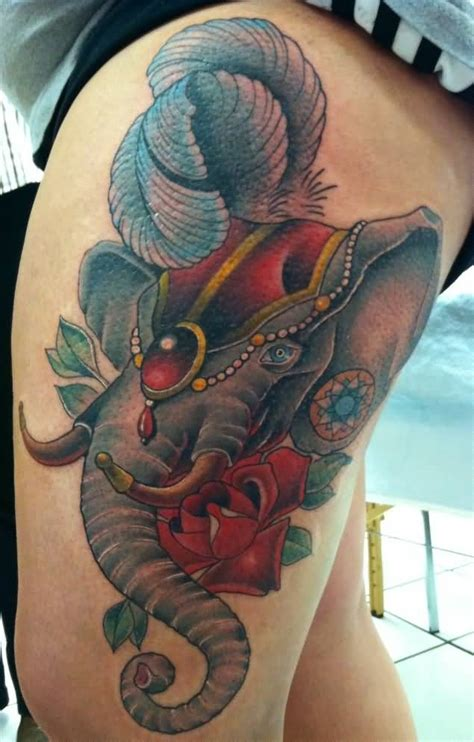 circus elephant tattoo 45 elephant tattoos for thigh