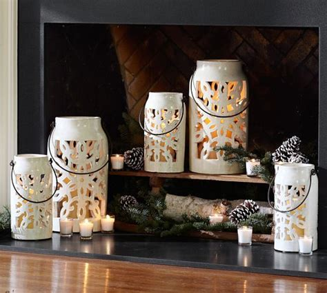 pottery barn nativity set snowflake punched ceramic lanterns pottery barn it s for the