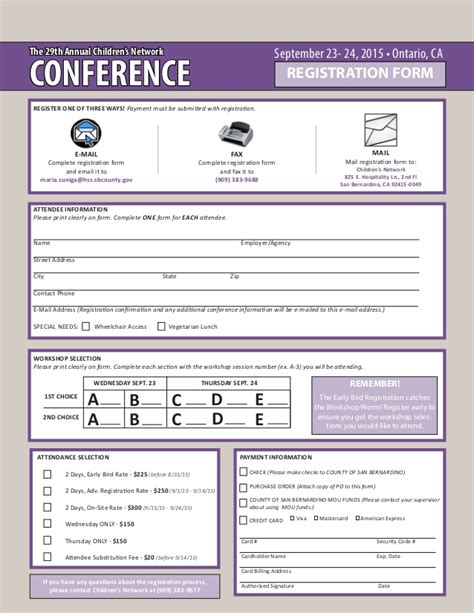 participant registration form template the 29th annual children s network conference
