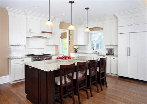 Kitchen Living Space Ideas by White And Cherry Transitional Style Kitchen Traditional