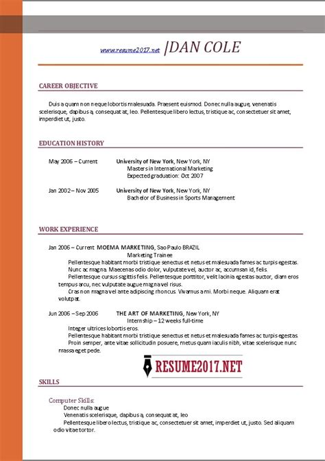 Resume 2017 Templates by Best Resume Format 2017 Template Learnhowtoloseweight Net