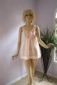 Vanity Fair Nightgowns Vintage 60s Sheer Pink Short Baby Doll Nylon Chiffon By