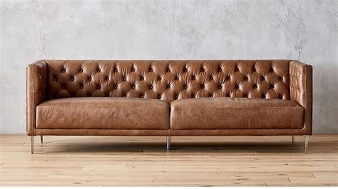 savile saddle brown leather tufted sofa cb2