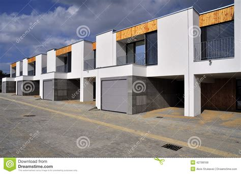 Just Garage Plans Modern Row Family Houses Stock Image Image Of Houses