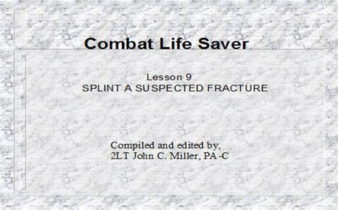 combat lifesaver certificate template splint a suspected fracture armystudyguide