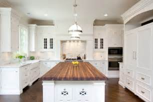 white kitchen with island butcher block countertops design ideas