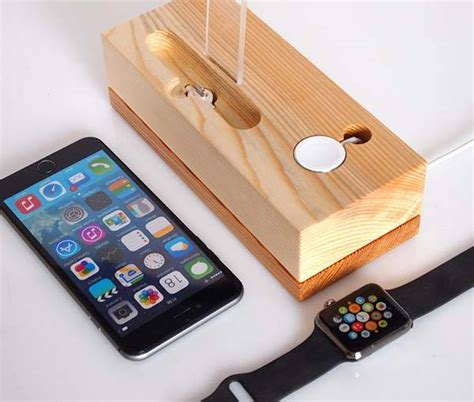 handmade wooden iphone  apple  charging station