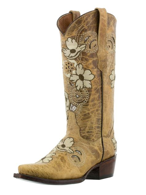 womens distressed sand beige leather western cowboy