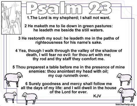 the lord is my shepherd coloring page bible david