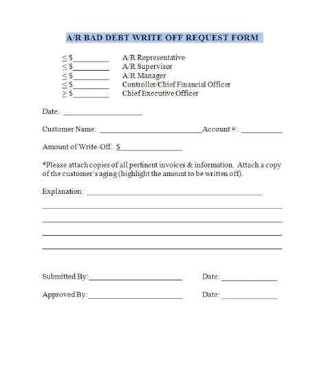 bad debt letter template accounts receivable bad debt write request form