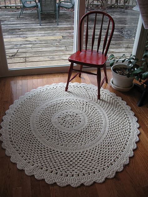 crochet throw rug patterns free 4 diameter lacy throw rug crocheted with 3 strands of worsted and size 10 mm hook for a