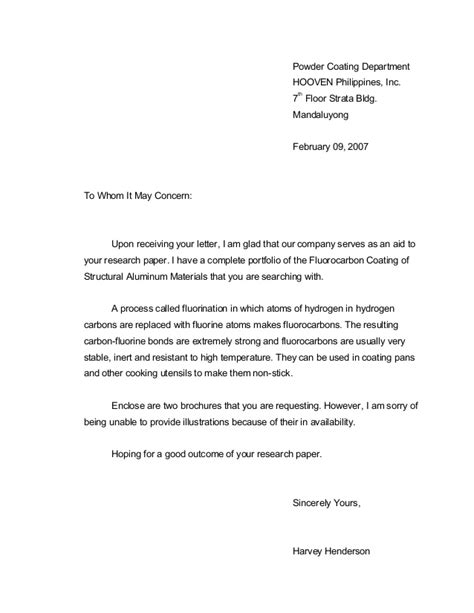 Reply Inquiry Letter Exles 14532813 Exle Letter Of Inquiry