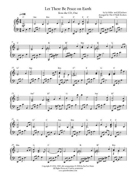 printable lyrics to let there be peace on earth piano music wedding music holiday music piano wedding music