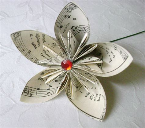 Recycled Origami Paper - origami paper folded kusudama recycled sheet hymnal book