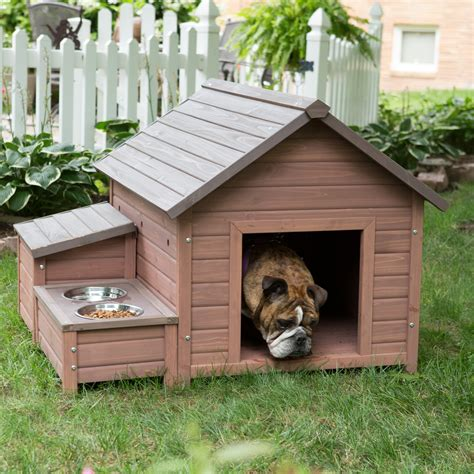 hayneedle dog houses boomer george a frame dog house with food bowl tray and storage cubby dog houses