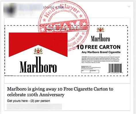 marlboro ten free cigarette carton giveaway facebook scam hoax slayer 2g - Marlboro Giveaway