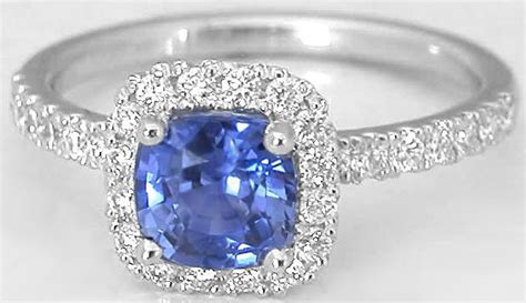 48 Crt Blue Saphire Safir Cutting 6mm cushion cut ceylon sapphire and halo ring in 14k white gold gr 5983