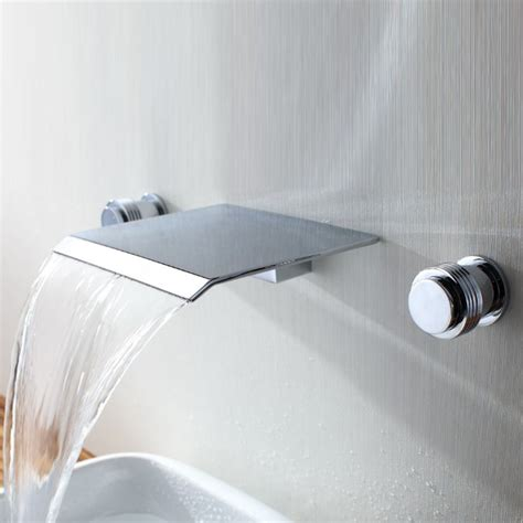 wall mounted bathtub faucets new widespread waterfall wall mount bathroom bathtub basin