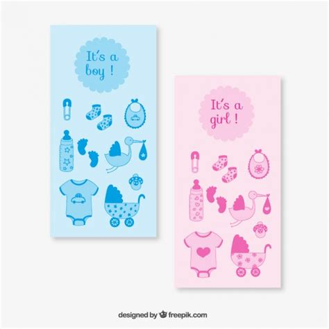 pink and blue baby shower cards vector free download