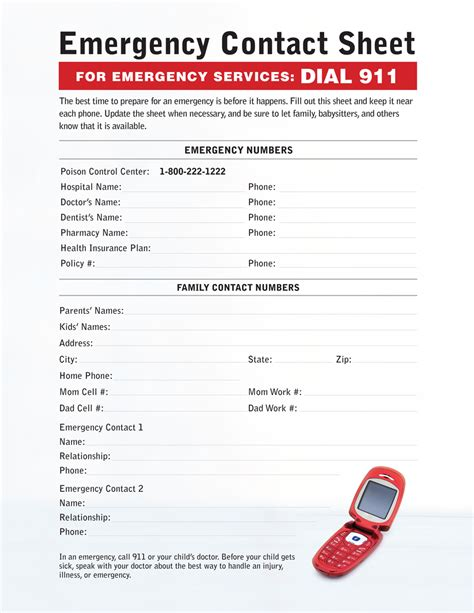 printable emergency numbers 7 best images of printable emergency contact list